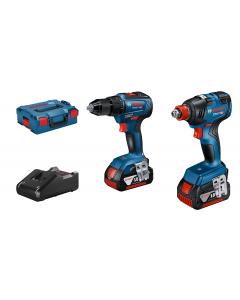 Bosch Combo-Kit GDX 18V-200 + GSR 18V-55 i L-BOXX med 2 x batterier GBA 18V 4.0Ah & Hurtiglader GAL 18V-40 Professional