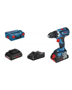 Bosch bor-/skrumaskin GSR 18 V-60 C med 2 x batterier ProCORE18V 4.0Ah og Hurtiglader GAL 18V-40 i L-BOXX