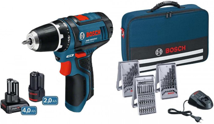 Bosch Skrumaskin GSR 10,8 LI Professional 2 & 4 Ah + Lader