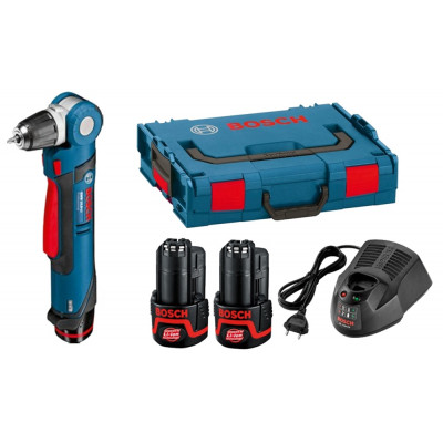 Bosch vinkelbormaskin GWB 12V-10 i L-BOXX med 2 x 2 Ah li-ion batterier