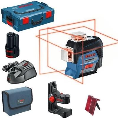 Bosch Linjelaser GLL 3-80 C i L-BOXX med universalholder BM 1 & batteri og lader