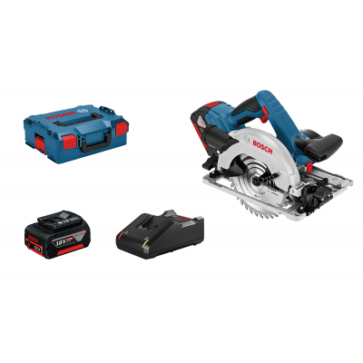 Bosch Sirkelsag GKS 18V-57 G i L-BOXX med 2 x batterier GBA 18V 4.0Ah og lader & 1 sirkelsagblad verktøy.no