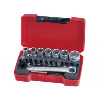 """Teng Tools T1420 pipenøkkelsett med 1/4""""-feste verktøy.no"""