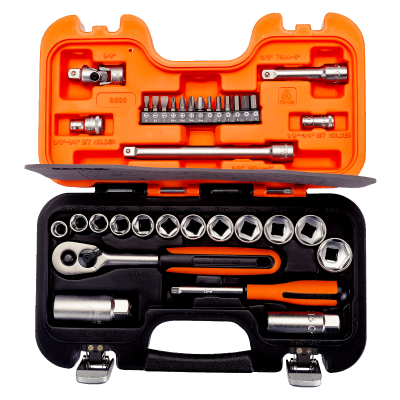 """BAHCO 1/4"""" og 3/8"""" pipesett med firkantinnfestning, metrisk sekskant og skralle S330"""