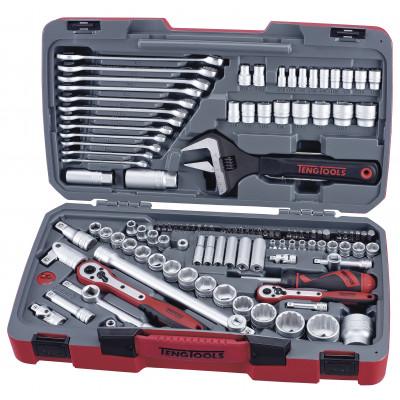 """Teng Tools TM127 pipenøkkelsett med 1/4"""", 3/8"""" og 1/2"""" -feste verktøy.no"""