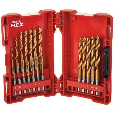 Milwaukee Shockwave HSS-G TIN RED HEX Bits-Metallbor