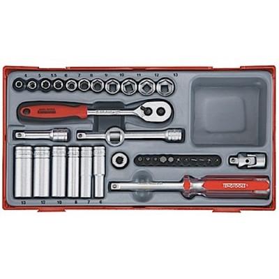 """Pipenøkkelsett med ¼"""" feste Teng Tools TT1435 verktøy.no"""