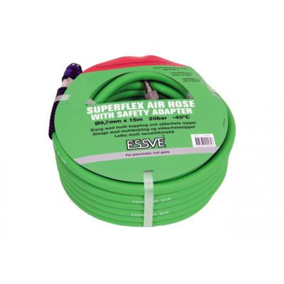SUPERFLEX TYKKLUFTSLANGE Polyuretanslange med multikobling og sikkerhetsnippel.