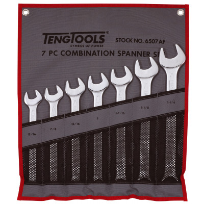 TengTools 7 deler tomme mål Kombinasjonsnøkkelsett i verktøyfutteral 6507AF