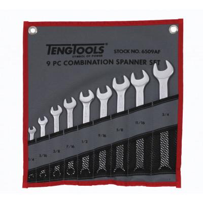 TengTools 9 deler tomme mål Kombinasjonsnøkkelsett i verktøyfutteral 6509AF