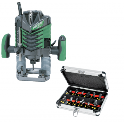 HIKOKI Overfres 1150W M8V2 med maskinkoffert & tilbehør verktøy.no