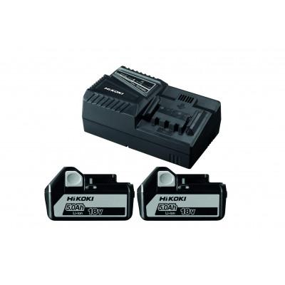HIKOKI Batteripakke 2 x 18V 5,0Ah batterier & lader BSL1850-UC18YFSL