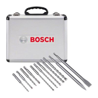 Bosch sett med (11 stk) SDS-plus borer & meisler i en aluminiumsveske verktøy.no