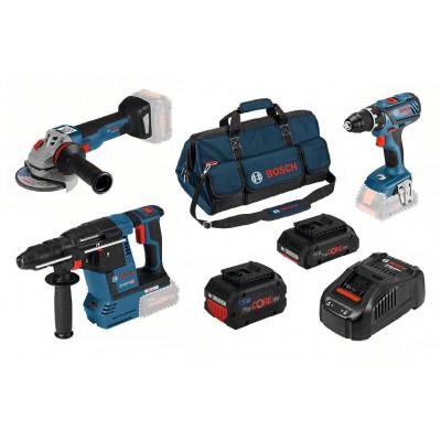 Bosch kampanjesett med 3 maskiner, bag, batterier & lader verktøy.no