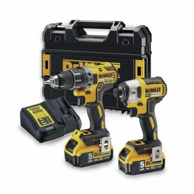 DeWalt 18V XR verktøysett med 2 maskiner 2x5,0Ah i TSTAK koffert DCK268P2T verktøy.no