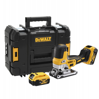 DeWalt 18V XR Stikksag med body grip i TSTAK med 2 x 18V 5.0Ah batterier & lader