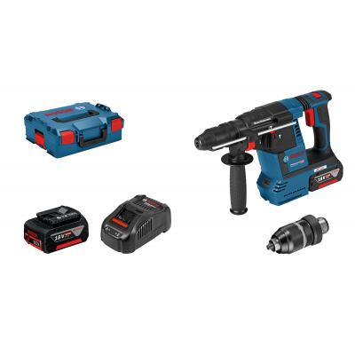 Bosch GBA 18V-26 F SDS-PLUS i L-BOXX med 2 x 6Ah batterier & lader