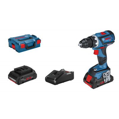 Bosch 18V bor-/skrumaskin GSR 18 V-60 C i L-BOXX med 2 x ProCORE18V 4Ah batterier & hurtiglader verktøy.no