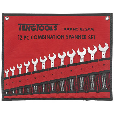 TengTools 12 deler MM mål Kombinasjonsnøkkelsett i verktøyfutteral 8512MM