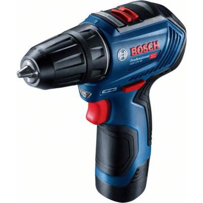 Bosch 12V bor-/skrumaskin i verktøyveske med 2 x 12V 2Ah batteri & lader GSR 12V-30 verktøy.no