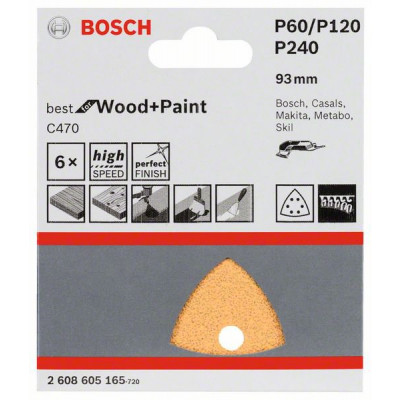 Bosch C470 Best for Wood and Paint multipakke 6. 2x60 / 2x120 / 2x240 verktøy.no