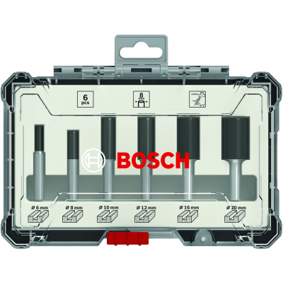 BOSCH Sett med rette fresejern 6 deler (3 skaftdiametre: 6 mm, 8 mm, ¼-tomme)