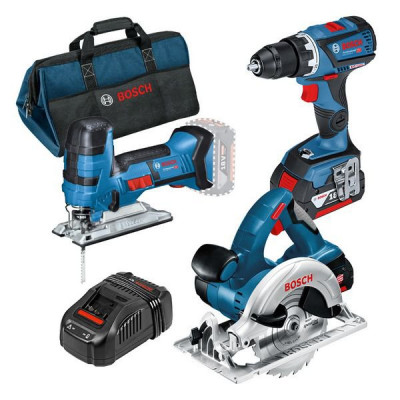 Bosch sett for profesjonelle: Batteridrevet GSR 18V-60 C + GST 18V-LIS + GKS 18 V-LI + verktøyveske verktøy.no