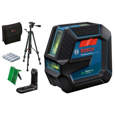 Bosch Linjelaser GLL 2-15 G med 4 (AA) batterier, stativ, LB 10 Universalholder  verktøy.no
