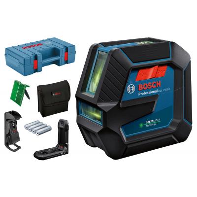 Bosch Linjelaser GLL 2-15 G i koffert med bæreveske med 4 (AA) batterier, lasermålplate, LB 10 og DK 10 verktøy.no
