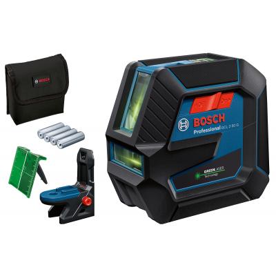 Bosch Kombilaser GCL 2-50 G med 4 (AA) Batterier, lasermåplate, dreibar holder RM 10 verktøy.no