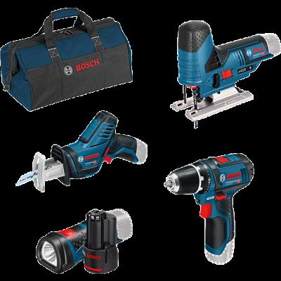 Bosch kampanjesett med 4 verktøy 12V GSR + GSA + GST + GLI + 2 x GBA 12V 2.0Ah + GAL