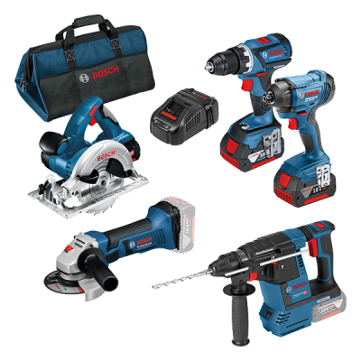 Bosch kampanjesett for profesjonelle. Med 5 maskiner. Med bag, batterier & lader verktøy.no