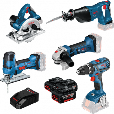 Bosch kampanjesett 5 pk 18 V-maskiner med bag, batterier og lader verktøy.no
