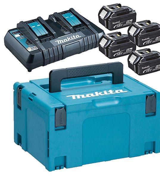 Makita Powerpack 4x18V 5Ah batteri og dobbeltlader